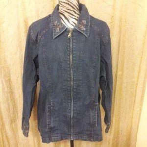 Jackets & Blazers - denim zip up jacket